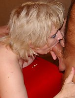 Horny mature blonde slut fucking and sucking