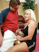 Blonde Anilos cougar gets deeply banged by a young stud and takes a cum explosion on her chest