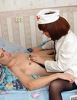 A horny nurse cures patient with a blowjob