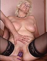 Chubby granny sucks cock and plays with dildoes