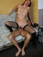 Oldie in sexy stockings gets banged from behind