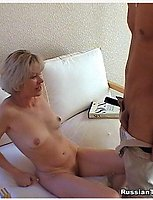 Blonde mature teacher touching herself and welcoming a guy