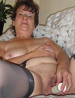 kinky amateur granny toying herself